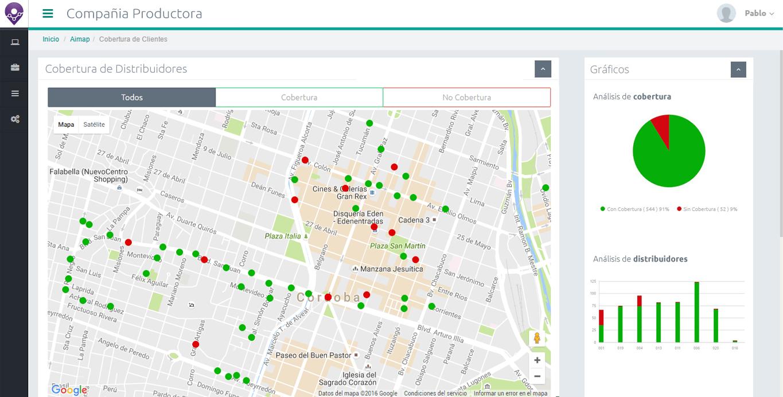 Mapa de cobertura de clientes