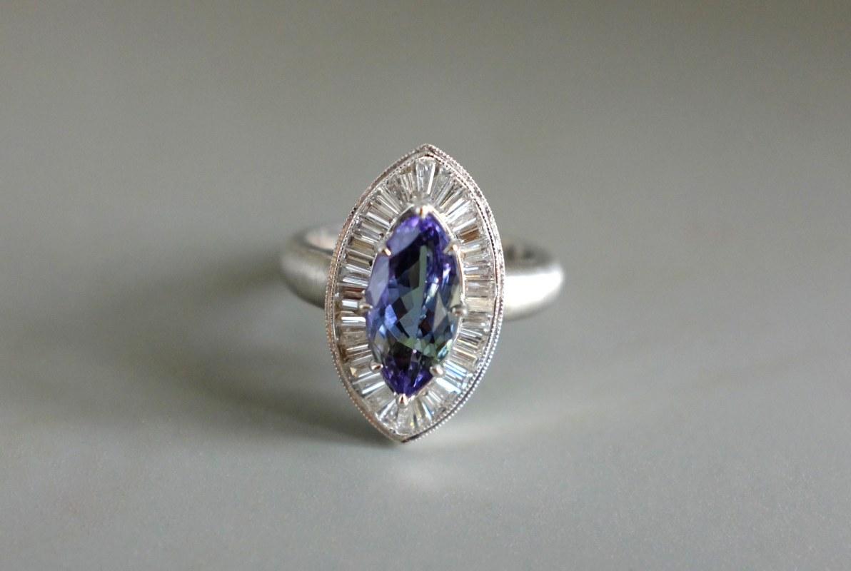 SIJS, tanzanite diamond ring, tanzanite marquise ring, unheated tanzanite ring, tanzanite ring singapore, platinum tanzanite ring