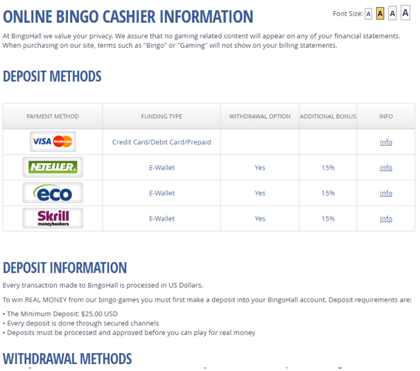 Bingo Hall Singapore casino- Deposit methods
