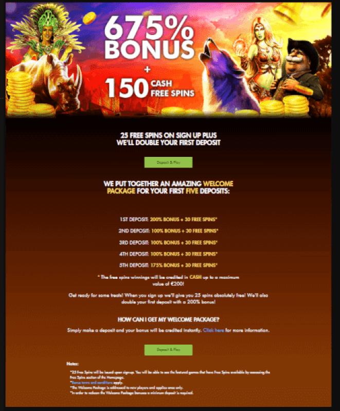 rich casino 675% welcome bonus