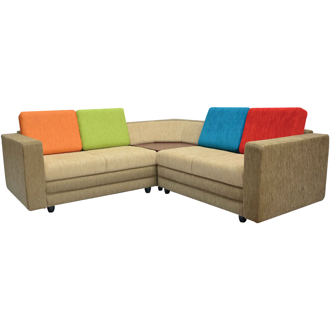 legend sectional sofa brown base and red blue orange and green back cushions