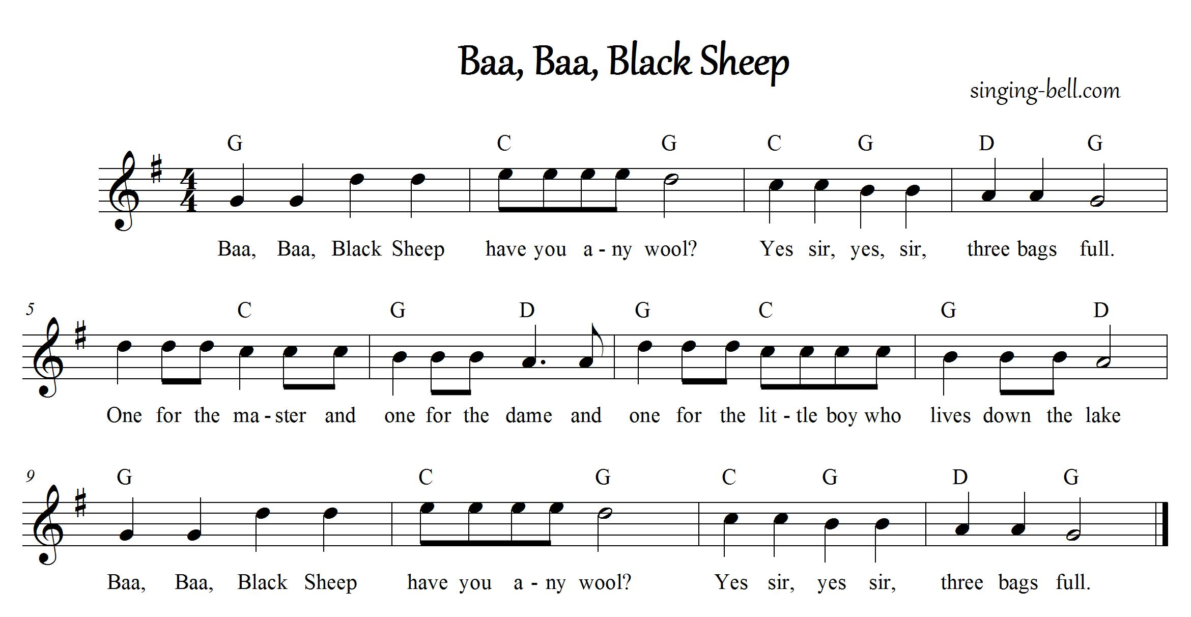Free Nursery Rhymes Baa Baa Black Sheep