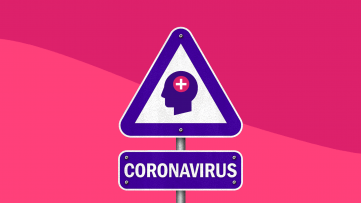A sign with a head in it represents protecting mental health while in coronavirus isolation