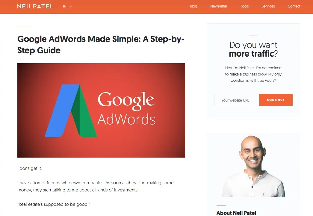 Neil Patel Google AdWords guide