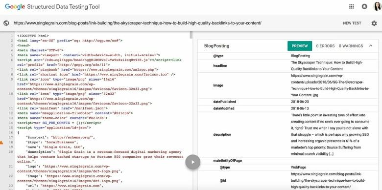 strumento per i dati strutturati di google