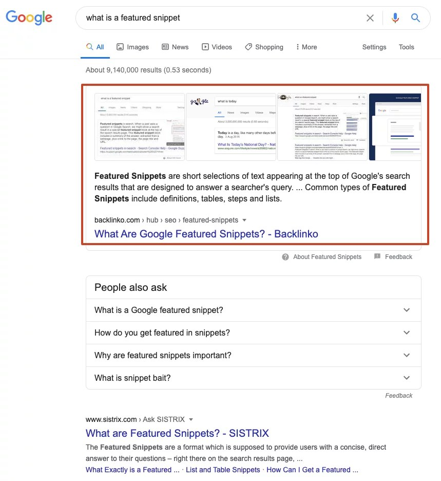 what is a featured snippet Google Search