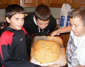 George, Matt, & Kaleb with the giant cookie