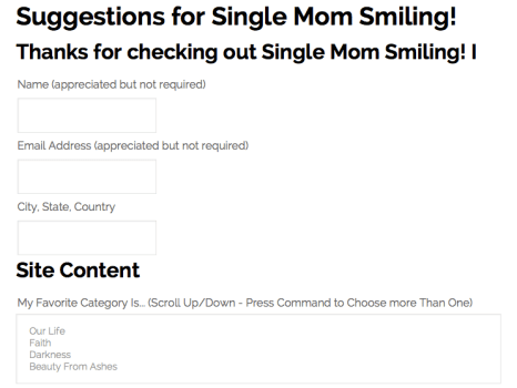 Take Single Mom Smiling's Survey!