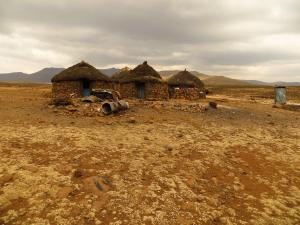 a group of huts