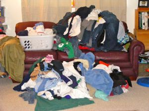 Laundry on the couch