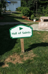 Hall of Saints sign
