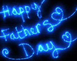 Happy Father's Day in blue lights