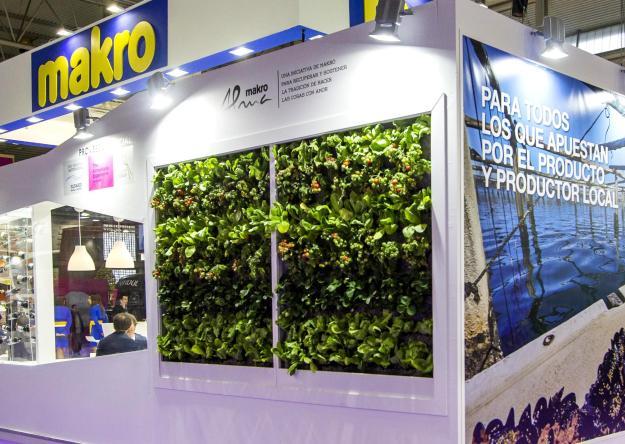 Jardín vertical de plantas de huerta