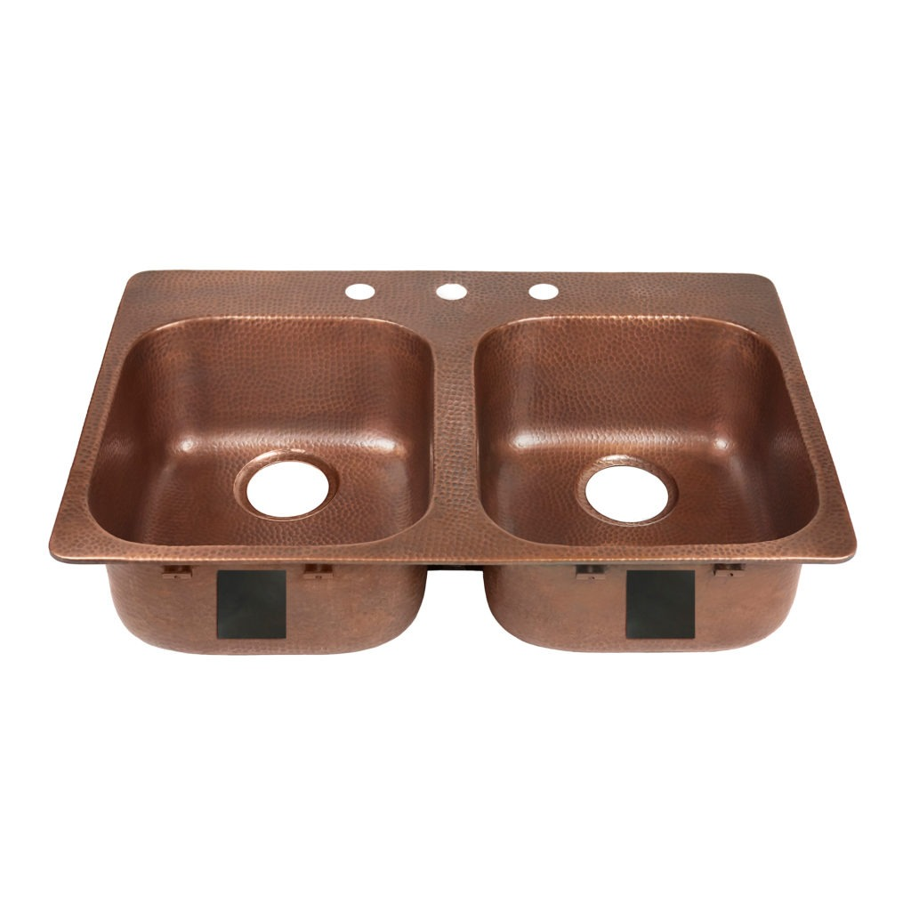 santi drop in copper sink 3 faucet