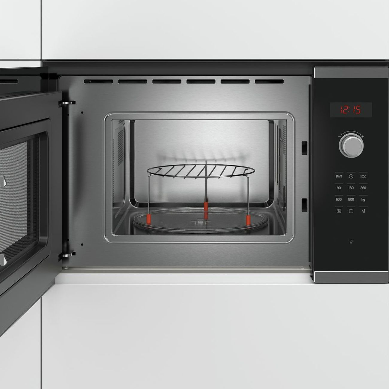 bosch serie 4 bel523ms0b stainless steel built in microwave oven with grill