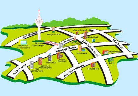 Mapa Torre Menara KL Qué ver y qué hacer en Kuala Lumpur Malasia