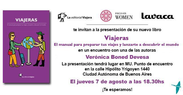 """Invitacion Presentación Viajeras en Bs As Presentación del libro """"Viajeras"""""""