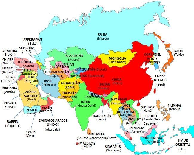 Mapa de Asia - organizar un viaje largo