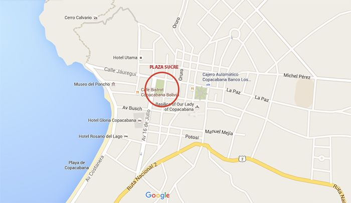 Mapa de Copacabana - qué ver en Copacabana - Bolivia