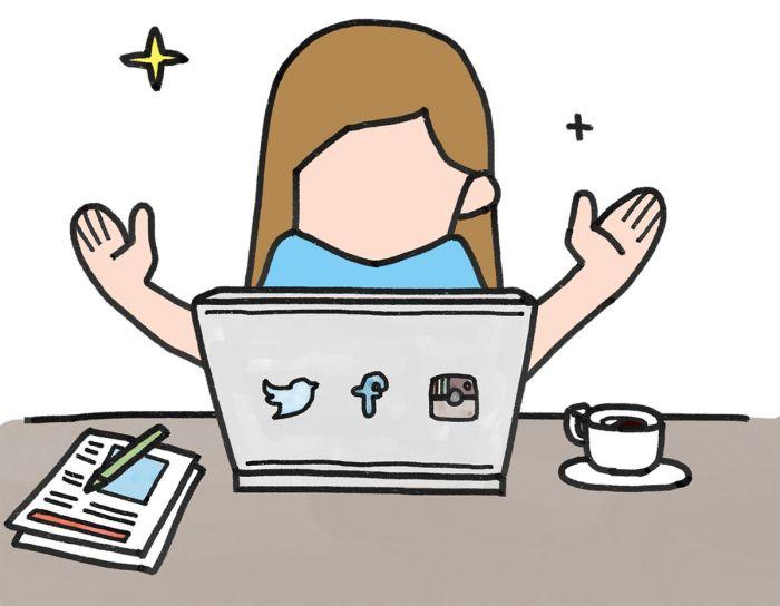 estar en contacto via redes sociales