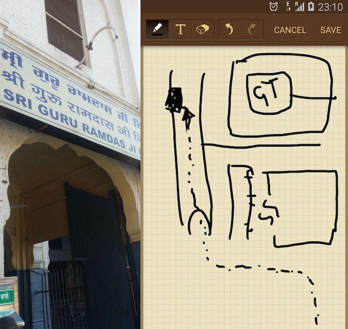 ¡Foto y mapa que me envió Luba para orientarme!