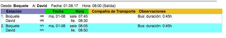 horarios buses a boquete