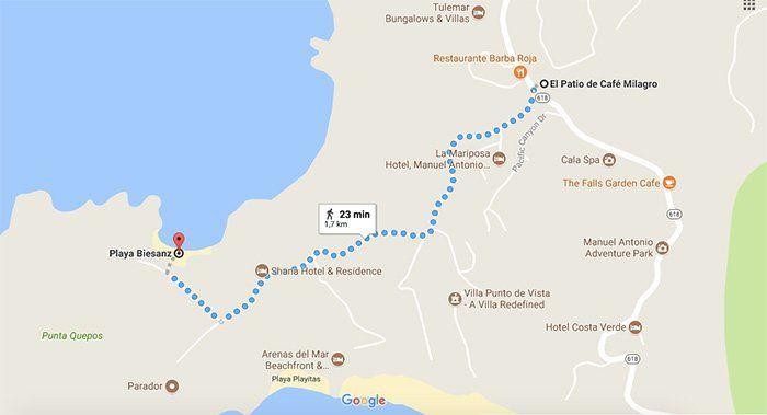 Mapa para ir a la Playa Biesanz