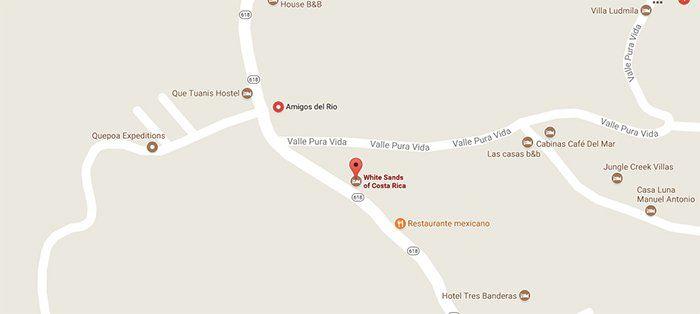 Mapa a las cataratas de Quepos, Costa Rica