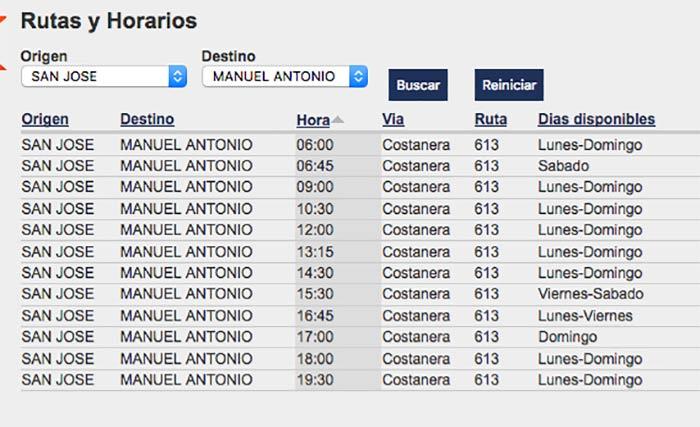 Horarios del bus San José - Manuel Antonio