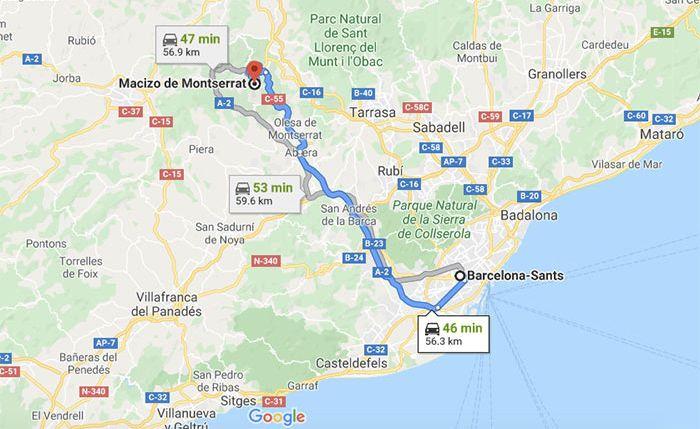 Mapa de Barcelona a Montserrat