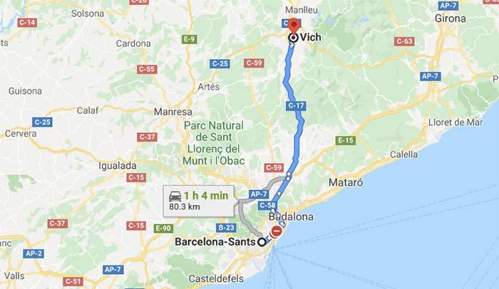 Mapa para llegar a Vic