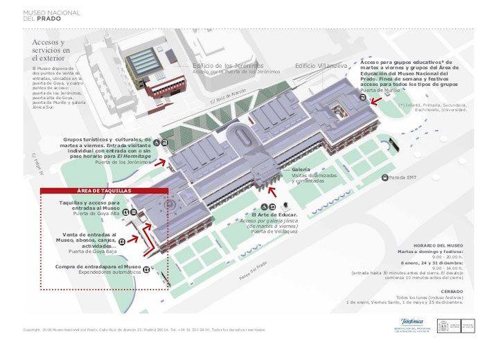 Mapa de los accesos al Museo del Prado, Madrid