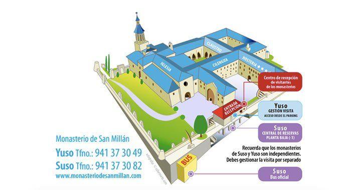 Mapa de acceso y venta de entradas Monasterios de Suso y Yuso