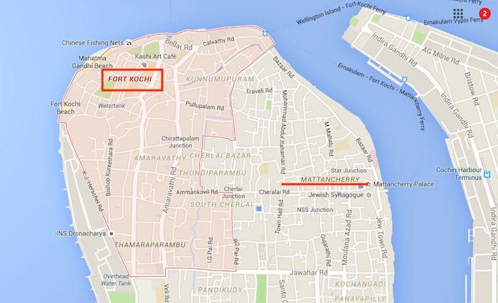 Mapa de Fort Kochi y Mattancherry