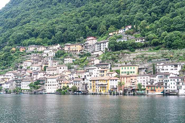Gandria, a orillas del Lago de Lugano, cantón del Tesino, Suiza