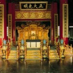 The dragon throne in the Taihe Hall in the Forbidden City