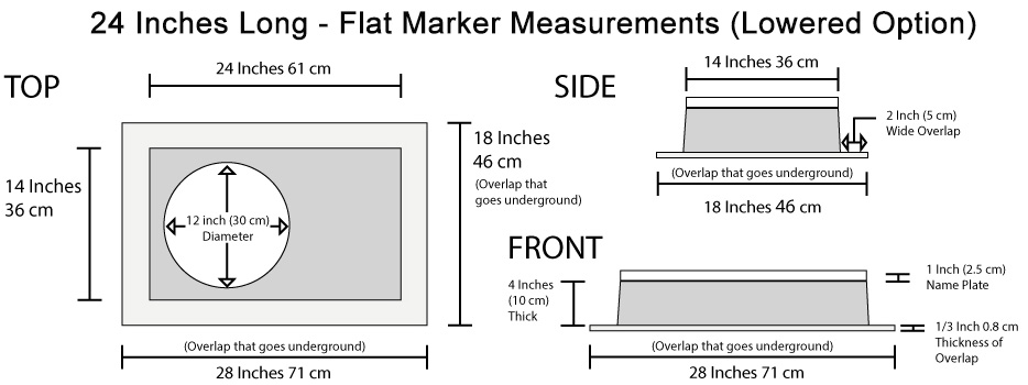 High-Tech Flat Marker Memorial Measurements