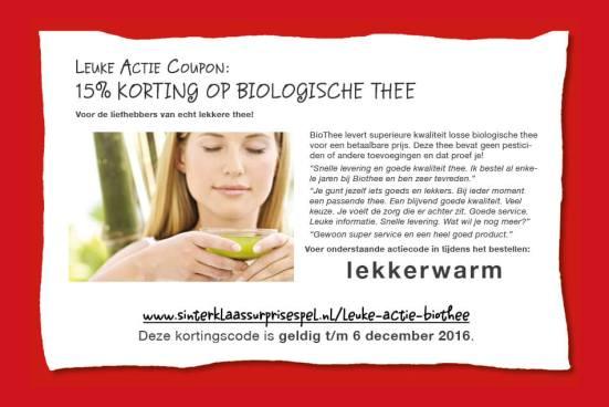 Leuke Actie: 15% korting op biothee
