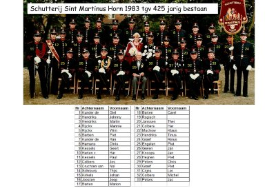 Schutterij Sint Martinus Horn 1983 425 jarig bestaan wie is wie_400