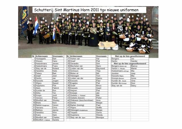 Schutterij Sint Martinus Horn 2011 inzegening uniformen wie is wie-klein_2