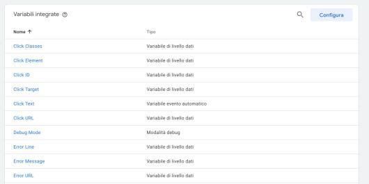 Google Tag Manager Variabili