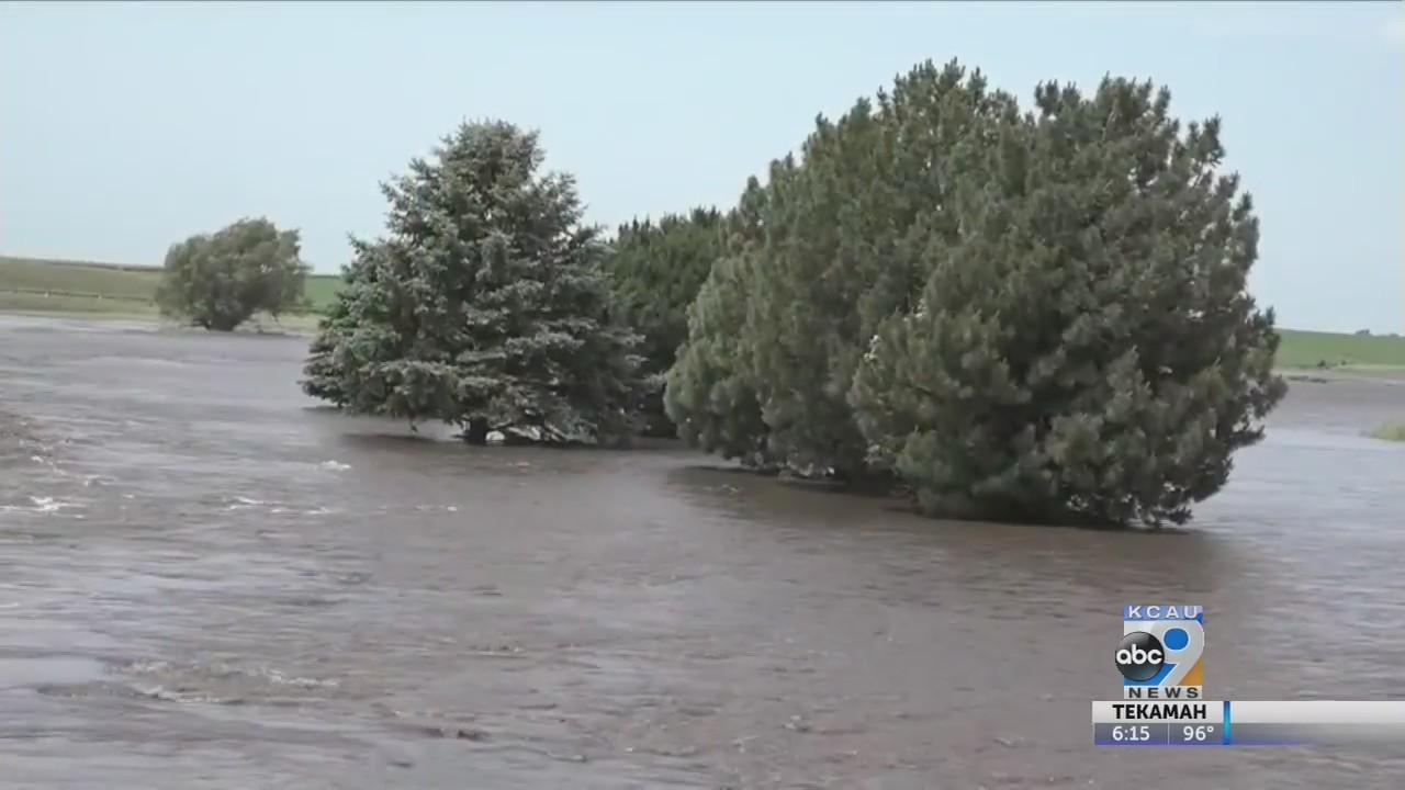 Torrential rain floods Sanborn fields