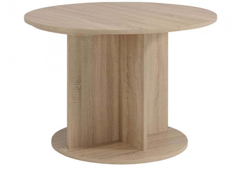 table ronde avec allonge fumay chene brut beton l145 cm