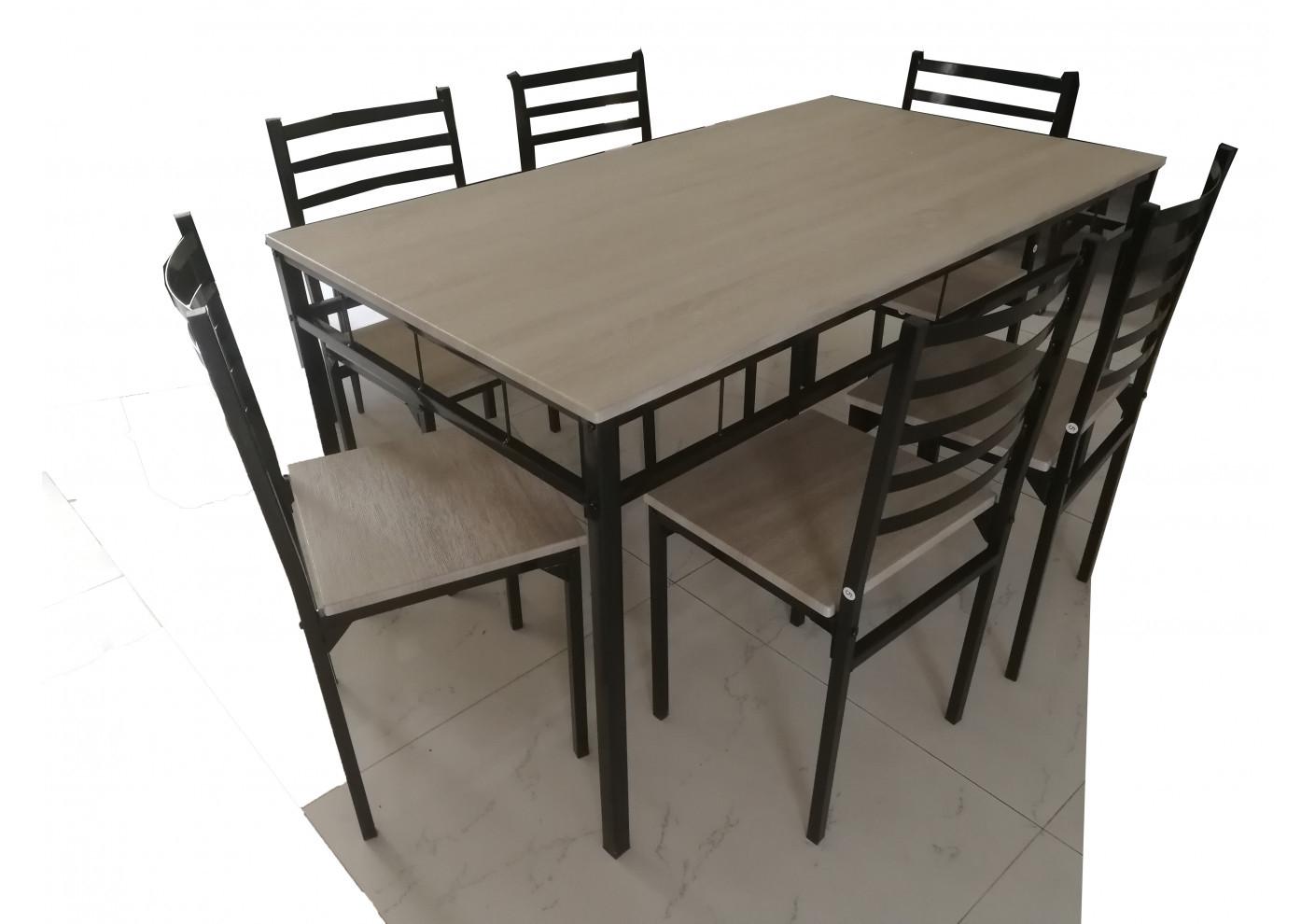 ensemble table 6 chaises square chene grise noir