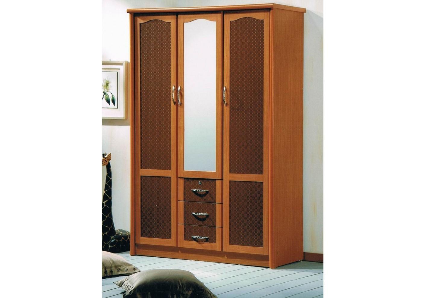 armoire 3 portes 3 tiroirs 1 miroir lagon merisier