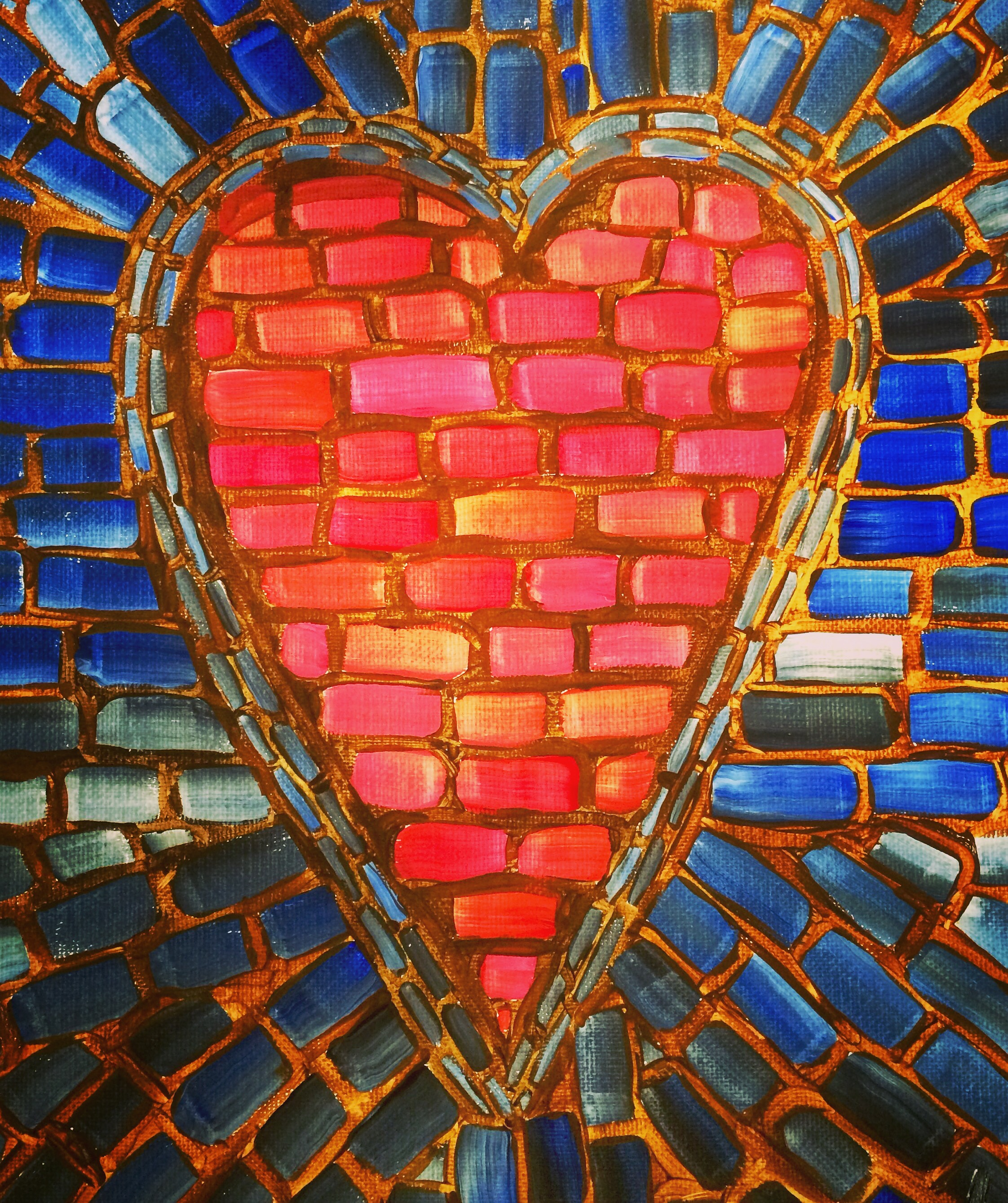 Stain glass Heart on canvas