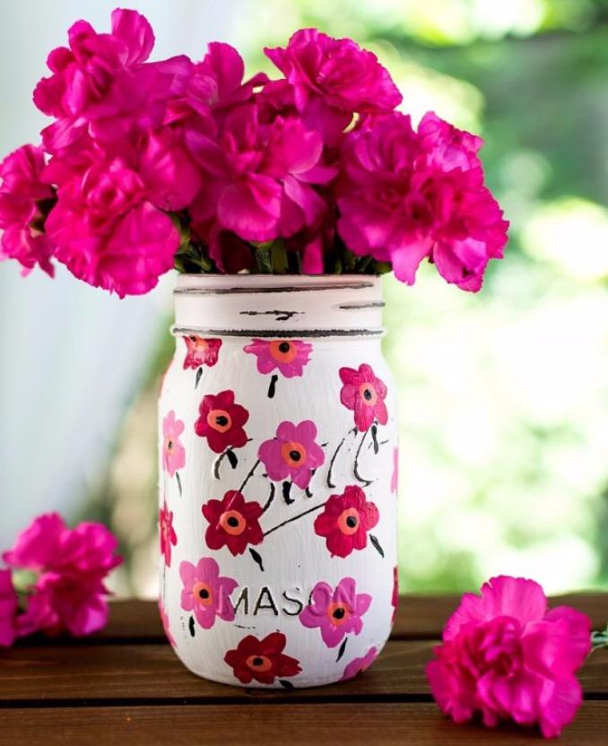 Mason Jar Vases- July