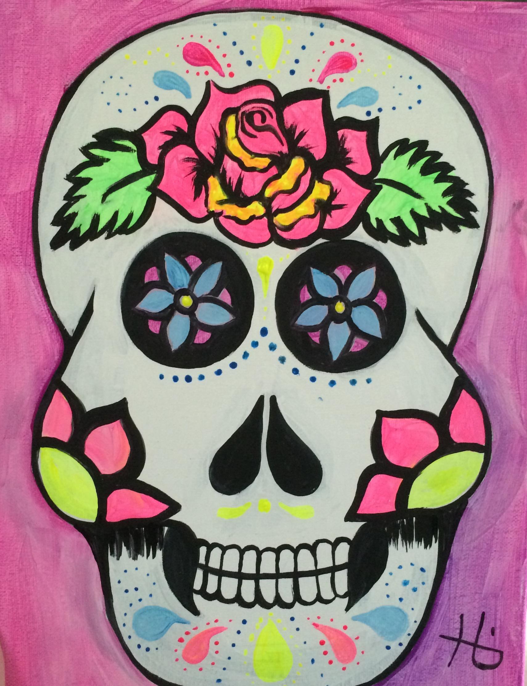Paint in the dark sugar skulls