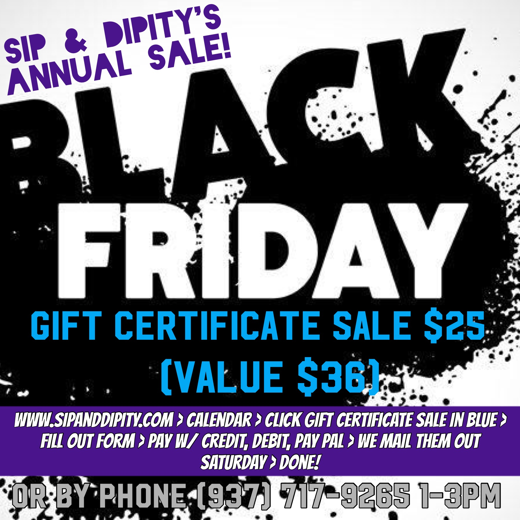 Black Friday One Day Only Sale!