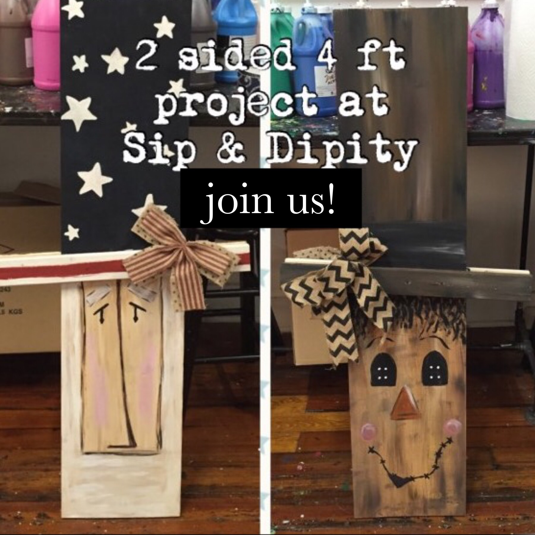 2 sided porch characters- Uncle Sam/Scarecrow
